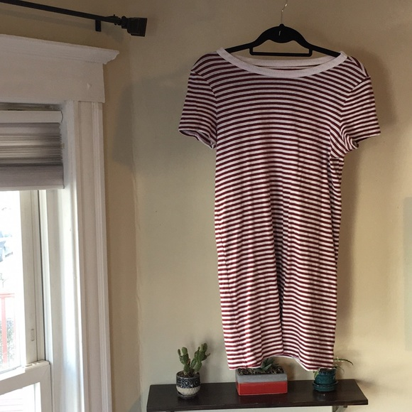 LOFT Dresses & Skirts - LOFT Lounge t-shirt dress, red and white striped